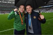 15 September 2019; Boxers Amy Broadhurst, left, and Michaela Walsh during the TG4 All-Ireland Ladies Football Senior Championship Final match between Dublin and Galway at Croke Park in Dublin. Photo by Stephen McCarthy/Sportsfile