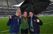 15 September 2019; Rower Sanita Puspure, left, and boxers Amy Broadhurst, centre, and Michaela Walsh during the TG4 All-Ireland Ladies Football Senior Championship Final match between Dublin and Galway at Croke Park in Dublin. Photo by Stephen McCarthy/Sportsfile