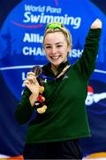 15 September 2019: Ellen Keane of Ireland poses with her bronze medal from the final of the Women's 100m Breaststroke during day seven of the World Para Swimming Championships 2019 at London Aquatic Centre in London, England. Photo by Tino Henschel/Sportsfile