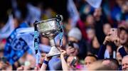 15 September 2019; Dublin captain Sinéad Aherne lifts the Brendan Martin Cup after the TG4 All-Ireland Ladies Football Senior Championship Final match between Dublin and Galway at Croke Park in Dublin. Photo by Emma Meyler/Sportsfile