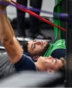 16 September 2019; Robbie Henshaw watches as team-mate Garry Ringrose goes thrpough his stretches during an Ireland Rugby gym session at the Ichihara Suporeku Park in Ichihara, Japan. Photo by Brendan Moran/Sportsfile