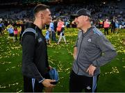 14 September 2019; Dublin manager Jim Gavin with Darren Daly following the GAA Football All-Ireland Senior Championship Final Replay between Dublin and Kerry at Croke Park in Dublin. Photo by Stephen McCarthy/Sportsfile