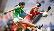 15 September 2019; Aisling Woods of Fermanagh and Sinéad Woods of Louth during the TG4 All-Ireland Ladies Football Junior Championship Final match between Fermanagh and Louth at Croke Park in Dublin. Photo by Stephen McCarthy/Sportsfile
