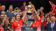 15 September 2019; Eilis Hand, left, and Lauren McFaul of Louth lift the West County Hotel Cup following the TG4 All-Ireland Ladies Football Junior Championship Final match between Fermanagh and Louth at Croke Park in Dublin. Photo by Stephen McCarthy/Sportsfile