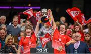 15 September 2019; Lauren Boyle, left, and Niamh Rice of Louth lift the West County Hotel Cup following the TG4 All-Ireland Ladies Football Junior Championship Final match between Fermanagh and Louth at Croke Park in Dublin. Photo by Stephen McCarthy/Sportsfile