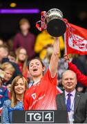 15 September 2019; Susan Byrne of Louth lifts the West County Hotel Cup following the TG4 All-Ireland Ladies Football Junior Championship Final match between Fermanagh and Louth at Croke Park in Dublin. Photo by Stephen McCarthy/Sportsfile
