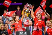 15 September 2019; Aoife Byrne, left, and Eimear Byrne of Louth lift the West County Hotel Cup following the TG4 All-Ireland Ladies Football Junior Championship Final match between Fermanagh and Louth at Croke Park in Dublin. Photo by Stephen McCarthy/Sportsfile