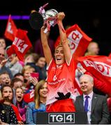 15 September 2019; Sinéad Woods of Louth lifts the West County Hotel Cup following the TG4 All-Ireland Ladies Football Junior Championship Final match between Fermanagh and Louth at Croke Park in Dublin. Photo by Stephen McCarthy/Sportsfile