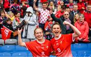 15 September 2019; Seoda Matthews, left, and Emily Norton of Louth celebrate following the TG4 All-Ireland Ladies Football Junior Championship Final match between Fermanagh and Louth at Croke Park in Dublin. Photo by Stephen McCarthy/Sportsfile