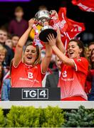 15 September 2019; Aoife Halligan, left, and Gráinne Murray of Louth lift the West County Hotel Cup following the TG4 All-Ireland Ladies Football Junior Championship Final match between Fermanagh and Louth at Croke Park in Dublin. Photo by Stephen McCarthy/Sportsfile