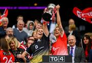 15 September 2019; Caoimhe Breen, left, and Áine Breen of Louth lift the West County Hotel Cup following the TG4 All-Ireland Ladies Football Junior Championship Final match between Fermanagh and Louth at Croke Park in Dublin. Photo by Stephen McCarthy/Sportsfile