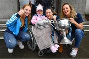 16 September 2019; Dublin players, from left, Ciara Trant, Lyndsey Davey and Rachel Ruddy alongside Rachael Knight, age 5, from Donabate, Co Dublin and the Brendan Martin Cup during the TG4 All-Ireland Senior Ladies Football Champions visit to Our Lady's Children's Hospital in Crumlin, Co Dublin. Photo by David Fitzgerald/Sportsfile