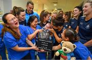 16 September 2019; Dublin ladies footballers including Hannah O'Neill, centre, and Lyndsey Davey, left, with nurses and James Ryan, age 6 months, inside the Brendan Martin cup during the TG4 All-Ireland Senior Ladies Football Champions visit to Our Lady's Children's Hospital in Crumlin, Co Dublin. Photo by David Fitzgerald/Sportsfile
