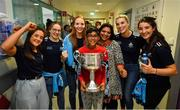 16 September 2019; Dublin ladies footballers, from left, Sarah Fagan, Orla Nolan, Ciara Trant, Jennifer Dunne and Rachael Fleming with Patma Harish and her son Jai, age 12, from Blanchardstown, Co Dublin during the TG4 All-Ireland Senior Ladies Football Champions visit to Our Lady's Children's Hospital in Crumlin, Co Dublin. Photo by David Fitzgerald/Sportsfile