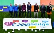 16 September 2019; Attendees, from left, Tomás Ó Muircheartaigh, Pádraig  Ó Conaire, Sarah Ní Chualáin, Cathal Cregg, An tAire Stáit Seán Kyne, Pat Culhane, Seosamh Mac Donncha and Michael Maher during the #GAAgaeilge Go Games at Croke Park in Dublin. Photo by Piaras Ó Mídheach/Sportsfile