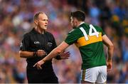 14 September 2019; Paul Geaney of Kerry protests to referee Conor Lane during the GAA Football All-Ireland Senior Championship Final Replay match between Dublin and Kerry at Croke Park in Dublin. Photo by Eóin Noonan/Sportsfile
