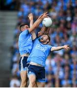 14 September 2019; Paul Geaney of Kerry contests a high ball with James McCarthy, left, and Jack McCaffrey of Dublin during the GAA Football All-Ireland Senior Championship Final Replay match between Dublin and Kerry at Croke Park in Dublin. Photo by Eóin Noonan/Sportsfile