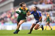 15 September 2019; Emma Duggan of Meath and Ava Fennessey of Tipperary during the TG4 All-Ireland Ladies Football Intermediate Championship Final match between Meath and Tipperary at Croke Park in Dublin. Photo by Stephen McCarthy/Sportsfile