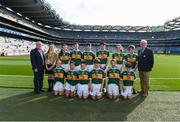 14 September 2019; GAA National Children's Officer Gearóid Ó Maoilmhichíl, INTO Mini-games co-ordinator Gerry O'Meara, with the Kerry team, back row, left to right, Referee Ava O'Neill of St Fiachra's NS, Beaumont, Co Dublin, Kate O'Loughlin of Scoil Naomh Pádraig Measc, Caherleaheen, Co Kerry, Ben Murphy of Scoil Naomh Eoin Balloonagh Tralee, Co Kerry, Adam Byrne of Dr Crokes Kerry, Co Kerry, Paddy Collins of Ilen Rovers, Co Cork, representing Kerry, Róisín Kelleher of Castlemagner, Cork, representing Kerry, James O'Shea of Dr Crokes, Co Kerry, front row, left to right, Naoishe O'Donoghue of Scoil An Fhaithche Cill Airne, Co Kerry, Tom Whooley of Clonakilty, Co Cork, representing Kerry, Dara Griffin of Dr Crokes, Co Kerry, Muiris O'Donoghue of Dr Crokes, Co Kerry, Amélie Kerin of Scoil Mhuire Cordal Castleisland, Co Kerry, Liam Hennigan of Dr Crokes, Co  Kerry, ahead of the INTO Cumann na mBunscol GAA Respect Exhibition Go Games at Dublin v Kerry - GAA Football All-Ireland Senior Championship Final Replay at Croke Park in Dublin. Photo by Daire Brennan/Sportsfile