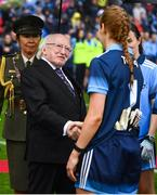 15 September 2019; President Michael D. Higgins greets Dublin goalkeeper Ciara Trant prior to the TG4 All-Ireland Ladies Football Senior Championship Final match between Dublin and Galway at Croke Park in Dublin. Photo by Stephen McCarthy/Sportsfile