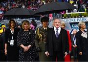 15 September 2019; President Michael D. Higgins during the TG4 All-Ireland Ladies Football Senior Championship Final match between Dublin and Galway at Croke Park in Dublin. Photo by Stephen McCarthy/Sportsfile