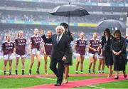 15 September 2019; President Michael D. Higgins prior to the TG4 All-Ireland Ladies Football Senior Championship Final match between Dublin and Galway at Croke Park in Dublin. Photo by Stephen McCarthy/Sportsfile