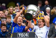 15 September 2019; Tipperary's Katie Cunningham, left, and Rachel Sweeney lift the Mary Quinn Memorial Cup following the TG4 All-Ireland Ladies Football Intermediate Championship Final match between Meath and Tipperary at Croke Park in Dublin. Photo by Stephen McCarthy/Sportsfile