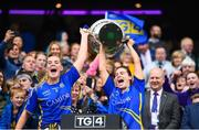 15 September 2019; Tipperary's Aisling McCarthy, left, and Maria Curley lift the Mary Quinn Memorial Cup following the TG4 All-Ireland Ladies Football Intermediate Championship Final match between Meath and Tipperary at Croke Park in Dublin. Photo by Stephen McCarthy/Sportsfile
