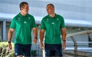 7 September 2019; Brothers Rhys Ruddock, right, and assistant strength & conditioning coach Ciaran Ruddock, during an Ireland rugby press Conference at the Hotel New Otani Makuhari in Chiba, Japan. Photo by Brendan Moran/Sportsfile