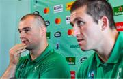 7 September 2019; Brothers Rhys Ruddock, left, and assistant strength & conditioning coach Ciaran Ruddock, during an Ireland rugby press Conference at the Hotel New Otani Makuhari in Chiba, Japan. Photo by Brendan Moran/Sportsfile