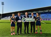 17 September 2019; Hockey Ireland have confirmed that Energia Park in Donnybrook will host two Women's Olympic Qualifier games against Canada on the 2nd and 3rd November 2019. Energia Park is the home of the Leinster Rugby 'A' and Women's teams. Pictured at the announcement are, from left, Ireland Hockey player Emily Beatty, Leinster Rugby CEO Michael Dawson, Minister for Transport, Tourism and Sport Shane Ross T.D., Hockey Ireland CEO Jerome Pels, and Ireland Hockey player Megan Frazer, right, at Energia Park in Donnybrook, Dublin. Photo by Seb Daly/Sportsfile