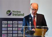 17 September 2019; Hockey Ireland have confirmed that Energia Park in Donnybrook will host two Women's Olympic Qualifier games against Canada on the 2nd and 3rd November 2019. Energia Park is the home of the Leinster Rugby 'A' and Women's teams. Pictured speaking at the announcement is Minister for Transport, Tourism and Sport Shane Ross T.D., at Energia Park in Donnybrook, Dublin. Photo by Seb Daly/Sportsfile