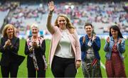 15 September 2019; Caroline Ahearn, on behalf of her sister Ruth, a member of the Waterford 1994 Jubilee team is honoured ahead of the TG4 All-Ireland Ladies Football Senior Championship Final match between Dublin and Galway at Croke Park in Dublin. Photo by Stephen McCarthy/Sportsfile