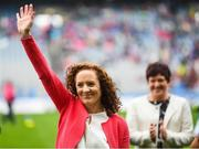 15 September 2019; Lorena Mooney a member of the Waterford 1994 Jubilee team is honoured ahead of the TG4 All-Ireland Ladies Football Senior Championship Final match between Dublin and Galway at Croke Park in Dublin. Photo by Stephen McCarthy/Sportsfile