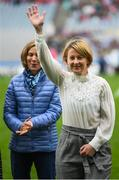15 September 2019; Fiona Crotty a member of the Waterford 1994 Jubilee team is honoured ahead of the TG4 All-Ireland Ladies Football Senior Championship Final match between Dublin and Galway at Croke Park in Dublin. Photo by Stephen McCarthy/Sportsfile
