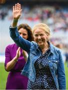 15 September 2019; Geraldine O'Ryan a member of the Waterford 1994 Jubilee team is honoured ahead of the TG4 All-Ireland Ladies Football Senior Championship Final match between Dublin and Galway at Croke Park in Dublin. Photo by Stephen McCarthy/Sportsfile