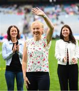 15 September 2019; Martina O'Ryan a member of the Waterford 1994 Jubilee team is honoured ahead of the TG4 All-Ireland Ladies Football Senior Championship Final match between Dublin and Galway at Croke Park in Dublin. Photo by Stephen McCarthy/Sportsfile