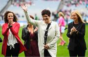 15 September 2019; June Whyte a member of the Waterford 1994 Jubilee team is honoured ahead of the TG4 All-Ireland Ladies Football Senior Championship Final match between Dublin and Galway at Croke Park in Dublin. Photo by Stephen McCarthy/Sportsfile