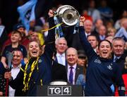 15 September 2019; Nicole Owens, left, and Siobhan Killeen of Dublin lift the Brendan Martin Cup following the TG4 All-Ireland Ladies Football Senior Championship Final match between Dublin and Galway at Croke Park in Dublin. Photo by Stephen McCarthy/Sportsfile