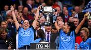 15 September 2019; Sinéad Goldrick, left, and Hannah O'Neill of Dublin lift the Brendan Martin Cup following the TG4 All-Ireland Ladies Football Senior Championship Final match between Dublin and Galway at Croke Park in Dublin. Photo by Stephen McCarthy/Sportsfile