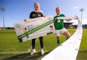 17 September 2019; Republic of Ireland internationals Louise Quinn, left, and Jess Gargan pictured at the launch of ticket sales for Republic of Ireland's UEFA Women's EURO 2021 Qualifier against Ukraine, in partnership with the 20x20 campaign, at Tallaght Stadium in Dublin. Tickets are now available at fai.ie/tickets  Photo by Stephen McCarthy/Sportsfile