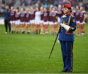 15 September 2019; A member of the Artane Band during the TG4 All-Ireland Ladies Football Senior Championship Final match between Dublin and Galway at Croke Park in Dublin. Photo by Stephen McCarthy/Sportsfile