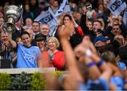 15 September 2019; Dublin captain Sinéad Aherne lifts the Brendan Martin Cup after the TG4 All-Ireland Ladies Football Senior Championship Final match between Dublin and Galway at Croke Park in Dublin. Photo by Stephen McCarthy/Sportsfile
