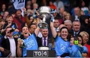 15 September 2019; Siobhán McGrath, left, and Lyndsey Davey of Dublin lift the Brendan Martin Cup following the TG4 All-Ireland Ladies Football Senior Championship Final match between Dublin and Galway at Croke Park in Dublin. Photo by Stephen McCarthy/Sportsfile