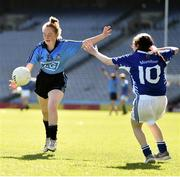17 September 2019; Leah Clarke of Dublin in action against Lauragh McGuire of Munster during the M.Donnelly GAA Football for ALL Interprovincial Finals at Croke Park in Dublin. Photo by Sam Barnes/Sportsfile