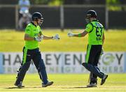 17 September 2019; Gareth Delany, left, and Andrew Balbirnie of Ireland during the T20 International Tri Series match between Ireland and Scotland at Malahide Cricket Club in Dublin. Photo by Seb Daly/Sportsfile