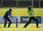 17 September 2019; Andrew Balbirnie of Ireland plays a shot, under the watch of Matthew Cross of Scotland, during the T20 International Tri Series match between Ireland and Scotland at Malahide Cricket Club in Dublin. Photo by Seb Daly/Sportsfile