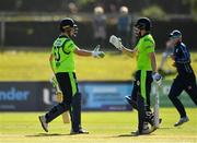 17 September 2019; Gareth Delany of Ireland, right, is congratulated by team-mate Andrew Balbirnie after scoring a half-century during the T20 International Tri Series match between Ireland and Scotland at Malahide Cricket Club in Dublin. Photo by Seb Daly/Sportsfile