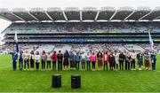 15 September 2019; The Waterford 1994 Jubilee team are honoured ahead of the TG4 All-Ireland Ladies Football Senior Championship Final match between Dublin and Galway at Croke Park in Dublin. Photo by Stephen McCarthy/Sportsfile