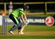 17 September 2019; Shane Getkate of Ireland plays a shot during the T20 International Tri Series match between Ireland and Scotland at Malahide Cricket Club in Dublin. Photo by Seb Daly/Sportsfile